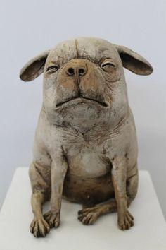 Peter Vanbekbergen Dog Sculpture, Pottery Sculpture, Animal Sculptures, Ceramic Figures, Ceramic Art, Wow Painting, Fire Art, Dog Logo, Ceramic Animals