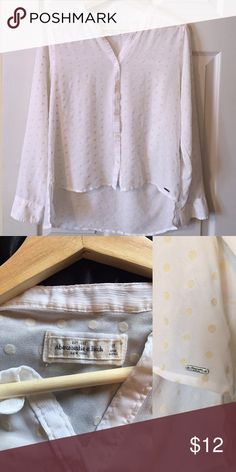 ✨BOGO {Abercrombie & Fitch} Sheer Blouse A&F Polka Dot Button Down High-Low Chiffon Blouse White with Gold polka dots  Super soft sheer fabric Size M  100% Polyester Good condition (no stains or visible flaws) Abercrombie & Fitch Tops Blouses