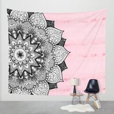 Artistic Boho Hand Drawn Mandala on Pink Tie Dye Wall Tapestry by BlackStrawberry | Society6