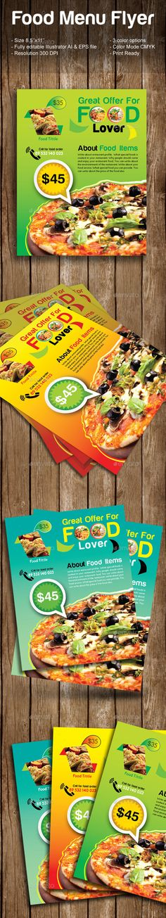 Food Flyer Bundle  Flyer Template And Ai Illustrator