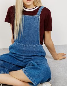 Denim culotte dungarees. Discover this and many more items in Bershka with new products every week