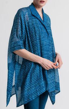 Raga Designs Shibori Cotton/Silk Faria Jacket in Blue | Santa Fe Dry Goods & Workshop #raga #ragadesigns #shibori #cotton #silk #jacket #kimono #sheer #casual #fashion #style #clothing #santafe #santafedrygoods
