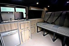 Tourer Slimline Conversion - Includes Smev Waeco electrical system, Smartbed seating, Leisure Battery Installation, Flooring and lighting Camper Kitchen, Vw T5, Campervan, Flooring, Storage, Driftwood, Kitchens, Furniture, Home Decor
