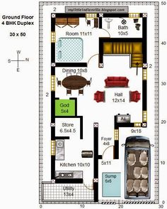 Image Result For 30 X 60 Duplex House Plans 3d Dining In