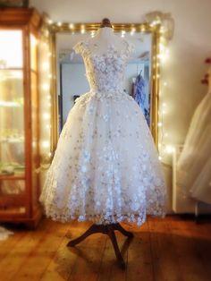 Flower Tulle Ballerina Wedding Dress with Embroidered DetailJoanne Fleming Design Tea Length Wedding Dress, Tea Length Dresses, Trendy Dresses, Short Dresses, Bridal Gowns, Wedding Gowns, Tulle Wedding, Mode Inspiration, Bridal Style