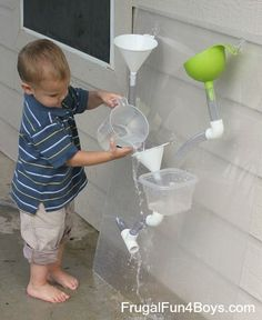How to build a changeable water wall Frugal Summer Activities, Summer Kids Activities #summer