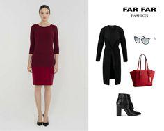 Żeby stworzyć wygodną, a zarazem elegancką stylizację, potrzeba niewiele. Nasza propozycja to zestawienie bordowej, ołówkowej sukienki z czarnym klasycznym płaszczem i skórzanymi botkami, a całość uzupełni czerwona torebka ze złotym wykończeniem.