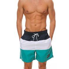 Mens Patchwork Pocket Lace Up 007 Swimsuits Surf Board Beachwear Swim Trunks