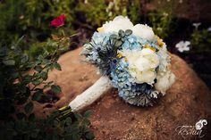 Blue and Yellow Bridal Bouquet / Photos by Keshia / Dominion House