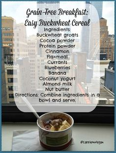 Grain-Free Hotel Breakfast: Easy Buckwheat Cereal from Carrie on Vegan | www.carrieonvegan.com
