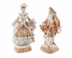 Pair of Sitzendorf Porcelain Figurines