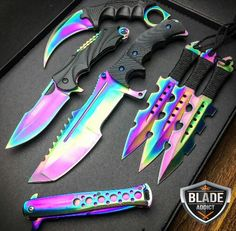 7 PC Rainbow Titanium Ninja Battle Set I love ninja weapons I wish I have a lot of ninja weapons Pretty Knives, Cool Knives, Knives And Swords, Tactical Knives, Tactical Gear, Kunai Knife, Ninja Battle, Knife Aesthetic, Armas Ninja