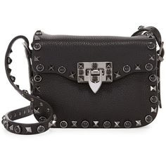 Valentino Rockstud Rolling Small Crossbody Bag (10.250 BRL) ❤ liked on Polyvore featuring bags, handbags, shoulder bags, black, crossbody shoulder bag, flap crossbody, locking purse, valentino crossbody and crossbody flap handbags