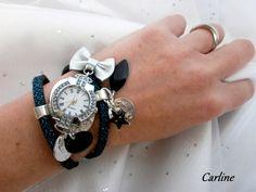 Montre femme mode. Montre originale avec son noeud de cuir et bracelet de cuir véritable avec paillettes turquoise foncé et noir fermoir magnétique. Matériaux utilisés : cuir, email.