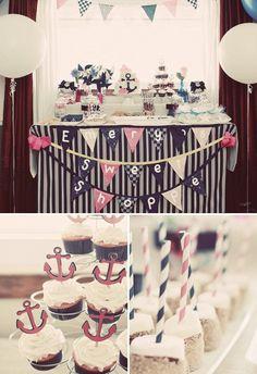 """Sweet+Sailor""+Nautical+First+Birthday+{Navy+&+Pink}"