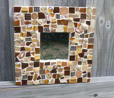 Broken China Brown Mosaic Mirror- Pique Assiette Mosaic Mirror