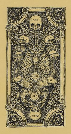 Death Tarot by R.Kuroda. I like that the card symbolizing change (and the challenges thereof) illustrates the Kabbala's Tree of Life so vividly.