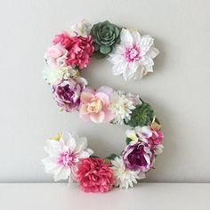 """Large 19"""" floral letter that can be hung on the wall. These letters are perfect for bridal showers, wedding decor, baby showers, nursery decor, personalized gifts, birthday parties, baptism gifts, baby rooms, kids rooms, unique Christmas gifts, photo shoot props, sorority events, wedding monograms, gallery wall art, and more."""