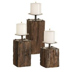 wood plank candleholders inspired by fisherman's wharf pilings