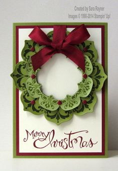 Daydream Medallion Christmas wreath card, using supplies from Stampin' Up! www.craftingandstamping.com #stampinup