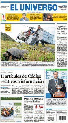 Portada de #DiarioELUNIVERSO del 20 de diciembre del 2013. Las noticias del día en: www.eluniverso.com