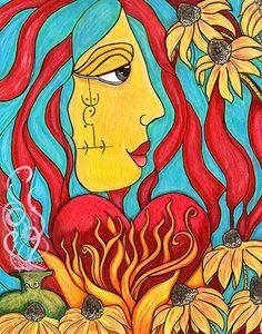 'Heart Fire' by Kimberly McGuiness Art & Design Moon Glyphs, Artist Project, Virtual Art, Black Eyed Susan, Soul Art, Tribal Art, Art Day, Line Art, Illustration Art