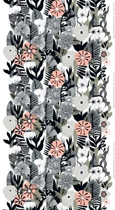 A gorgeous floral print designed by Maija Louekari. Soft pinks are contrasted against black, grey and sage green for a contemporary look.printed fabric width: