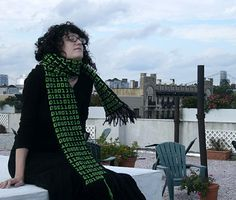 """Binary Scarf. In keeping with my binary blanket, and yet to be acquired binary pillow, if I ever get around to making this it will most likely say """"scarf"""" over and over again."""