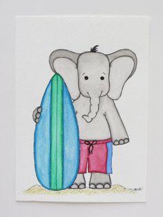 Watercolor painting elephant surfer kids wall art от Waterblooms