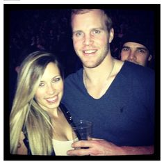 Haha Crawford photo bombing Bickell !!!!  Chicago Blackhawks style!  PS... Amanda Bickell is GORGEOUS