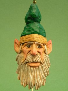 Hand <b>Carved</b> Wood Christmas Santa <b>Elf</b> with Green Hat Holiday Ornament