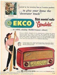 "AUSTRALIAN Vintage Advertising AEI EKCO RADIO AD ""GONDOLA"" 1958 Original Advert"