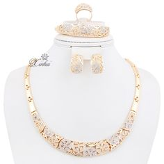 Hot Fashion african bridal Wedding costume Jewelry sets for Women 18K Gold plated Crystal Rhinestone Necklace set  Price: US $16.99  Sale Price: US $16.99  #dressional