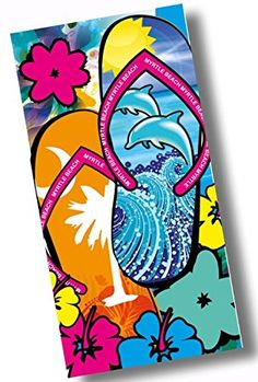 """Custom & Luxurious {30"""" x 60"""" Inch} 1 Single Large & Thin Soft Summer Beach & Bath Towels Made of Quick-Dry Cotton w/ Classic Cute Flip Flop Myrtle Beach Dolphin Floral Tropical Style [Multicolor]"""