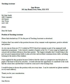 Teaching Assistant Cover Letter Example