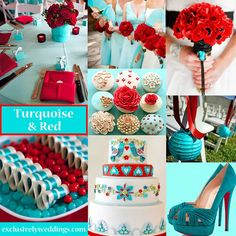 Turquoise and Red Wedding Colors | #exclusivelyweddings