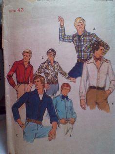 Vintage Butterick Men's Shirt Pattern size 42 by MAKERSNINE, $1.99