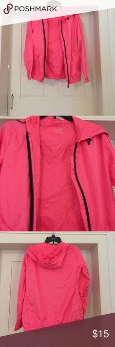 Pink raincoat Bright pink zip up raincoat. Hardly worn Jackets & Coats