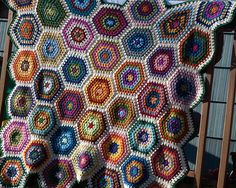 A Granny Hex with oodles of color.  I've been thinking about granny squares a lot recently, and I love this twist.