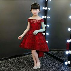 Red Dresses For Kids, Gowns For Girls, Baby Girl Dresses, Princes Dress, Red Frock, Dress Anak, Cute Asian Babies, Baby Dress Patterns, Kids Fashion