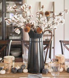 For something a bit more rustic, a vase filled with cotton stem branches is an easy way to add a bit of fall color to your decor. Fall Bedroom Decor, Home Decor, Modern Farmhouse Design, Farmhouse Style, Fall Vignettes, Cool Tables, White Vases, Rustic Elegance, Table Settings