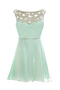 Shut the front door!! Aqua mint dress. Silver and sparkly detailed collar. Perfect for attendee of a wedding. Or a bridesmaid dress that is mint!