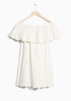 & Other Stories image 1 of Embroidery Frill Dress in Off white