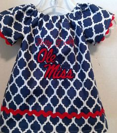Ole Miss hotty toddy peasant style dress with by Meemeescorner, $30.00