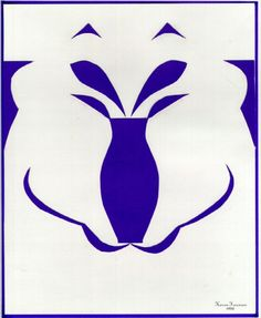Edgar Rubin, a Danish Gestalt psychologist conducted research on figure ground illusions. In this image, your brain chooses to see either the vase or the face of a bear. Both cannot be seen simultaneously. Principles Of Design, 2d Art, Elements Of Art, Negative Space, Unity, Blue And White, Relationship, Graphic Design, Texture