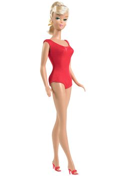 Swirl Ponytail™ Barbie® Doll. In 1964, Barbie® replaced her bangs with a sleek, side sweep hairstyle, known popularly by collectors as the swirl ponytail.    Included in this package are a reproduction doll wearing a reproduction of the original red helenca swim suit, 3 collector cards, a reproduction booklet, and a re-creation of 1965's Dancing Doll™ fashion.