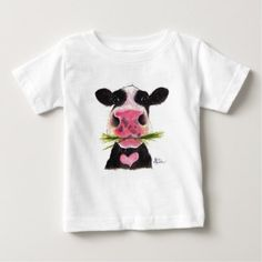 Nosey Friesian Cow ' ROCKY ' Kids T-Shirt - baby gifts child new born gift idea diy cyo special unique design
