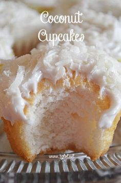 Coconut Cupcakes made with cake mix and cream of coconut. #cupcakes #coconut #dessert www.3glol.net