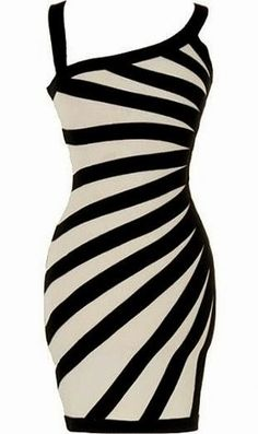 Very Comfort And Lovely Black-White, Striped Dress.