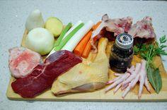 caldo de verduras, pollo y carne